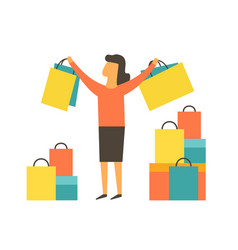 happy women making shopping vector image