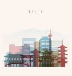 kyoto skyline detailed silhouette vector image vector image