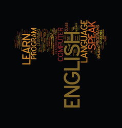 Learn to speak english text background word cloud vector
