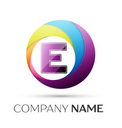 letter e logo symbol in the colorful circle on vector image vector image