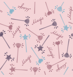 magic wand seamless pattern in hand drawing style vector image