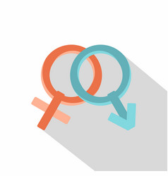 Male and female gender signs icon flat style vector