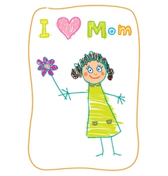 Mothers day kids drawning vector