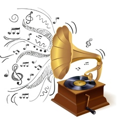Music doodle gramophone vector