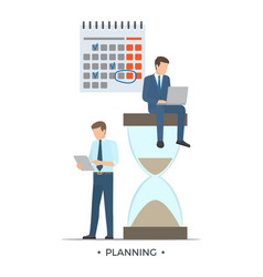 Planning calendar and men vector