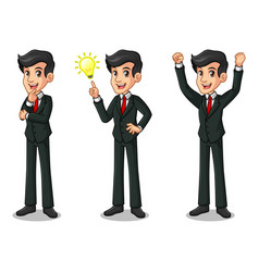 set of businessman in black suit getting ideas vector image