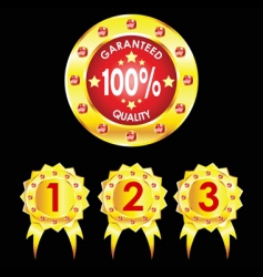 set of golden badges on black background vector image