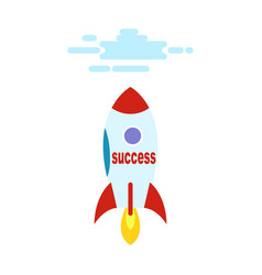 success in form of rocket flies straight to heaven vector image