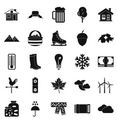 Summer cottage icons set simple style vector