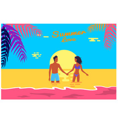 Summer love poster of happy couple standing in sea vector