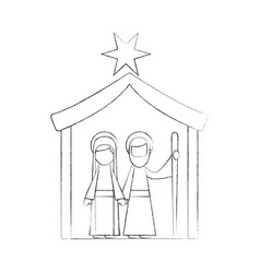 traditional family christmas manger scene virgin vector image vector image