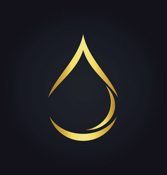 water drop bio ecology abstract gold logo vector image