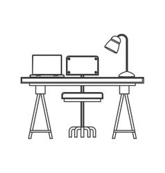 Wooden desk icon vector