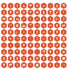 100 light source icons hexagon orange vector