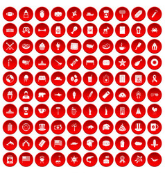 100 usa icons set red vector
