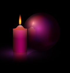 candle and purple ball vector image