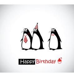 Happy birthday card penguin vector