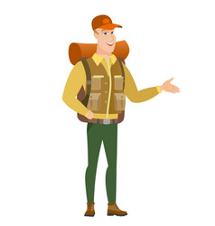 traveler with arm out in a welcoming gesture vector image