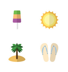 Flat hot set of beach sandals  sunshine coconut vector