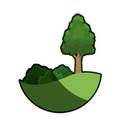 Cartoon tree bush natural meadow image shadow vector