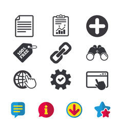 Plus circle and hyperlink signs file globe vector