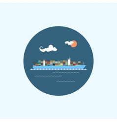 Icon with colored cargo container ship vector