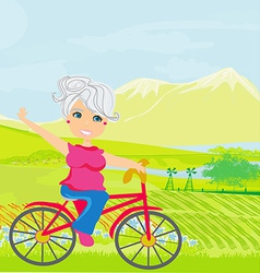 Elderly woman on a bicycle vector