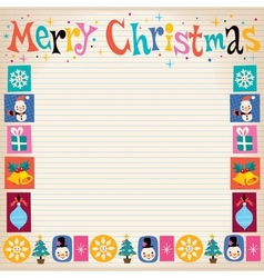 Merry christmas retro greeting card with copy vector