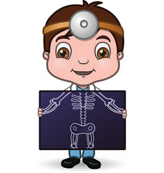 doctor holding x-ray vector image