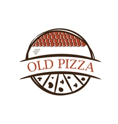 Old label pizzawith shingles vector