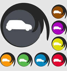 Jeep icon sign symbol on eight colored buttons vector
