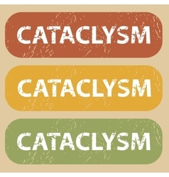 Vintage cataclysm stamp set vector