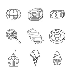 Linear icons for desserts vector