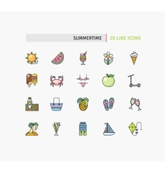 Set of thin lines icons summertime vector