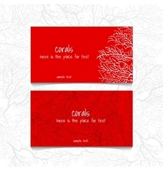 Coral red design horizontal business card vector