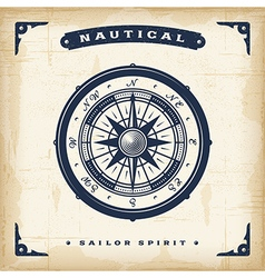 Vintage nautical compass vector