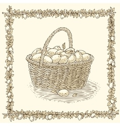 Wicker basket with ripe lemons vector