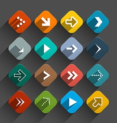 Arrows set - app icons - rounded squares colorful vector