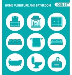Set of round icons white home furniture and vector