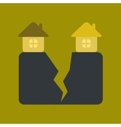 Flat icon on stylish background house earthquake vector
