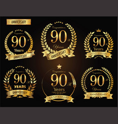Anniversary golden laurel wreath 90 years vector
