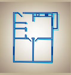 Apartment house floor plans sky blue icon vector