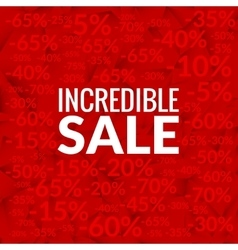 Big incredible sale background with percents vector