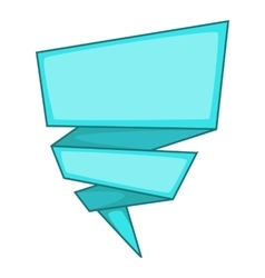 Blue origami speech bubble icon cartoon style vector