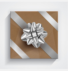 brown gift box - silver christmas and birthday bow vector image