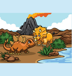 Cartoon of triceratops and stegosaurs in the vector