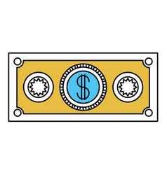 Color sectors silhouette of money bill icon vector