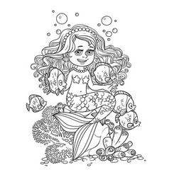 Cute little mermaid girl sits on a stone playing vector