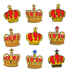 doodle red crown style various collection vector image vector image