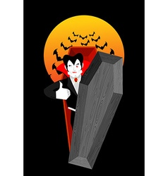 Dracula in coffin thumbs up shows well vampire vector